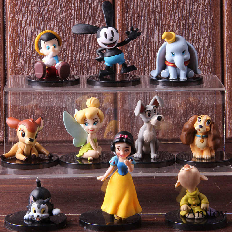 WCF World Collectable Figure Snow White Dopey  Oswald  Figaro Dumbo Bambi Tinker Bell Toy 5pcs/set
