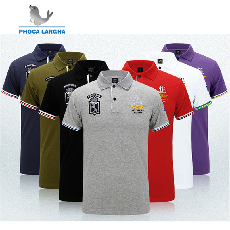 2019 Mens Summer 100% Cotton AERONAUTICA MILITARE Short Sleeve Air force one Man   Polo   Shirt Casual fashion Embroidery   Polo   Shirt