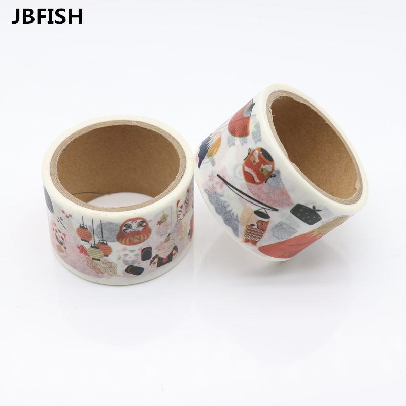 JBFISH Japanese Washi Tape crafts Mixed Color Pastel Patterns DIY Decorative Adhesive Tape Set Masking Paper Tapes 1PCS Lot 9016 in Office Adhesive Tape from Office School Supplies