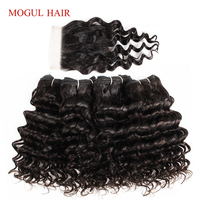 Пучки волос MOGUL, 4 пучка с закрытыми волосами, глубокие волнистые пучки, 50 г/шт., бразильские не Реми, натуральные волосы коричневого цвета, Ом...