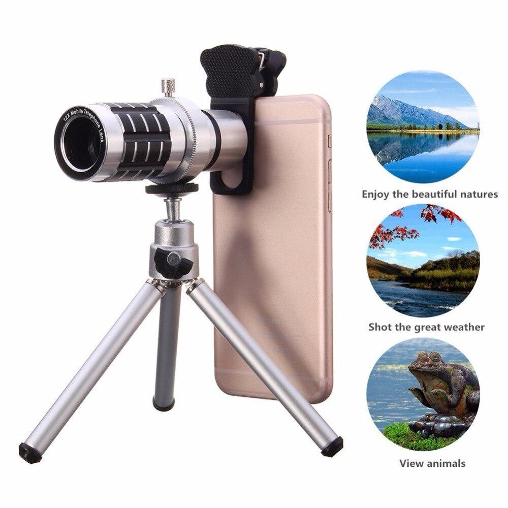 bilder für 12x optischer handy-kamera objektiv + mini stativ + universal clip halter für iphone samsung s6 s7 edge htc huawei p10