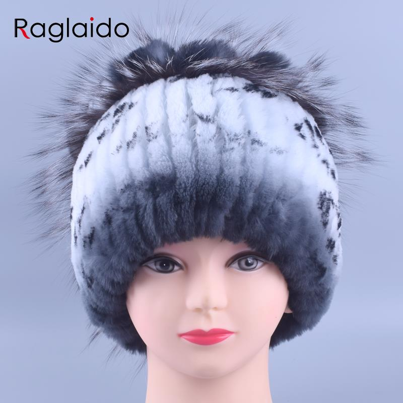 Genuine Knitted Rex Rabbit Fur Hats Natural Winter Lady Beanie Hat Women Fashion Handmade Warm Fluffy Tops gorro Caps LQ11142