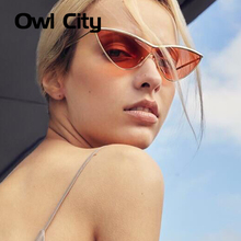 Owl City Cat Eye Sunglasses Women One Piece Vintage Sunglass Retro Ladies Brand Designer Sun Glasses Black Red Color Pink Mirror