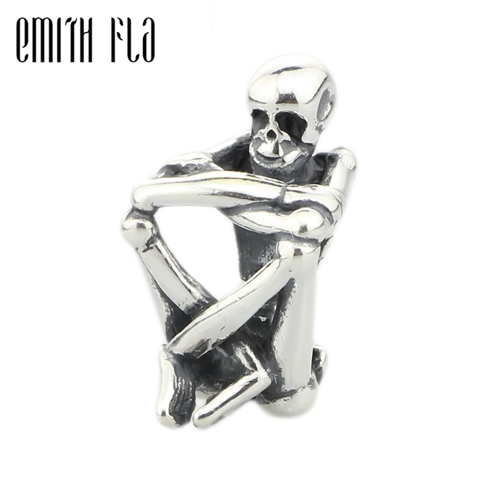 цена 925 Sterling Silver Skeleton Spirit Charm Beads DIY Fit For European Troll Bracelet & Necklace Vintage Jewelry Design Beads