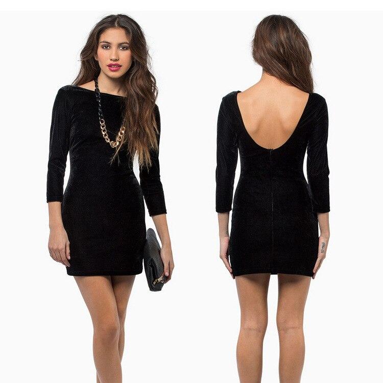 Elegant Velvet Mini Short Dresses For Women Long Sleeves Black Wine