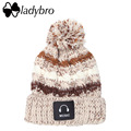 Ladybro Warm Pom Pom Hat Brand Women Hat Winter Knitted Velvet Stripe Skullies Beanie For Women Fashion Music Ski Hat Female