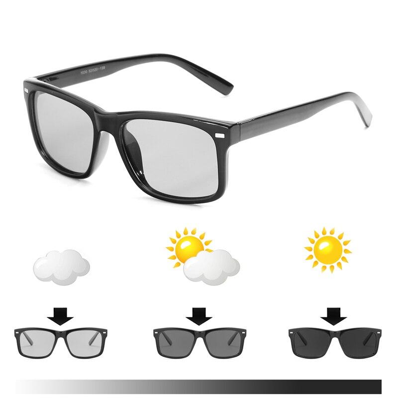 2018 Neue Männer Im Freien Fahren Photochrome Chameleon Sonnenbrille Männer Polarisierte Sonnenbrille Quadrat Sonnenbrille Freizeit Sonnenbrille