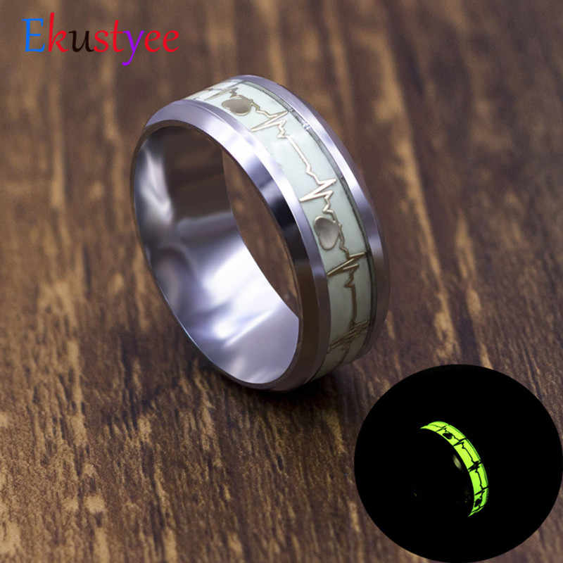 Luminous Heart Electrocardiogram Rings Stainless Steel Glow in the Dark Wave Love Ring Female Male Wedding Jewelry
