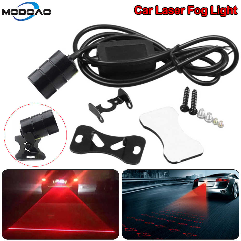 New Car Laser Tail Fog Light Anti Collision car forlight Lamp Braking Parking Signal Warning Lamps Universal LED car fog light