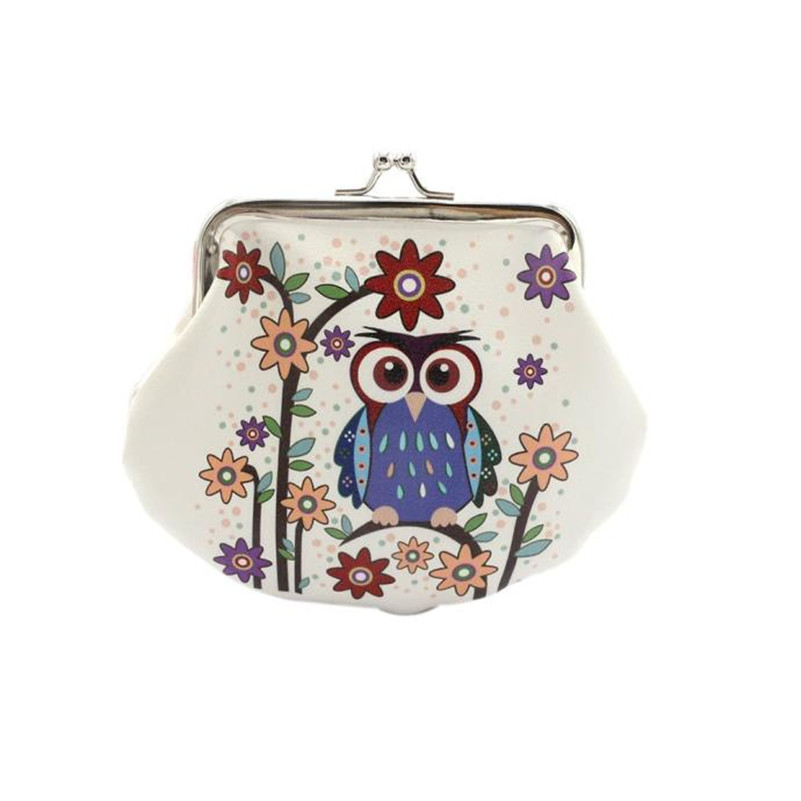 Women Coin Purse Lovely Owl Pattern Printing Hasp Small Wallet Women Cute High Quality Coin Purse Leather Carteira Feminina