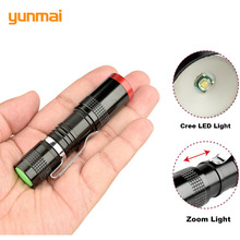 yunmai Powerful Zoom LED Flashlight Zoomable Small Penlight Cree Q5 Adjustable 3-Mode Mini Torch Strobe Flash Light Use AA/14500