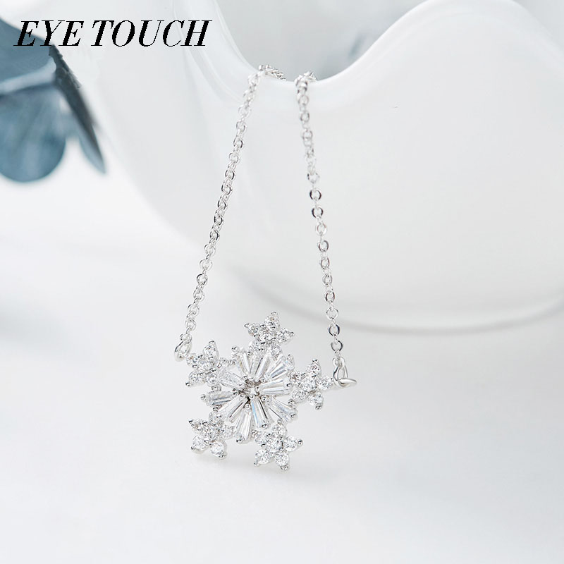 EYE TOUCH Crystals From Swarovski Necklace Women Pendant Snowflake Shaped Romantic Engagement Wedding Bijoux Fashion Jewerly