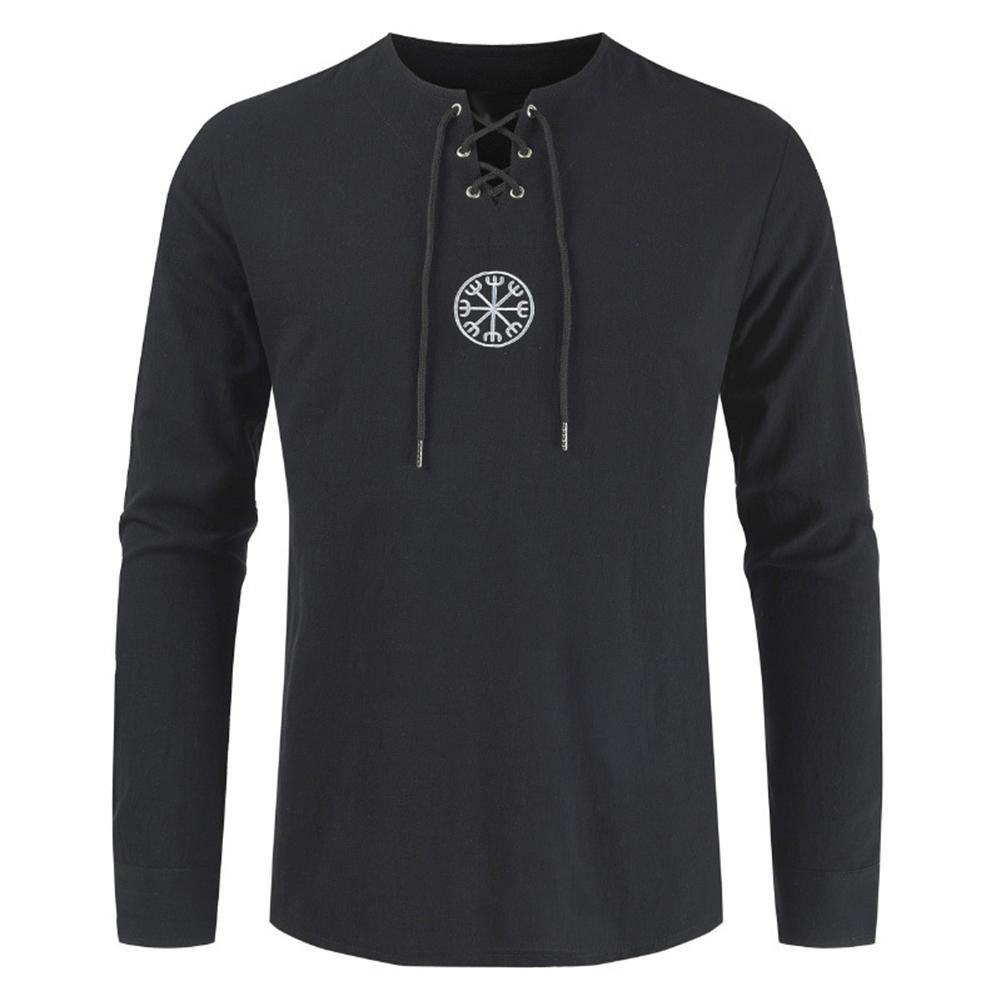 2020 New Unique Design Vintage Style Men Plus Size Ancient Viking Embroidery Lace Up V Neck Long Sleeve T-Shirt Top Trendy