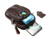 Shoulder Holster Belt Clip Genuine Leather Mobile Phone Case Dual Zipper Pouch For LG K3 K4