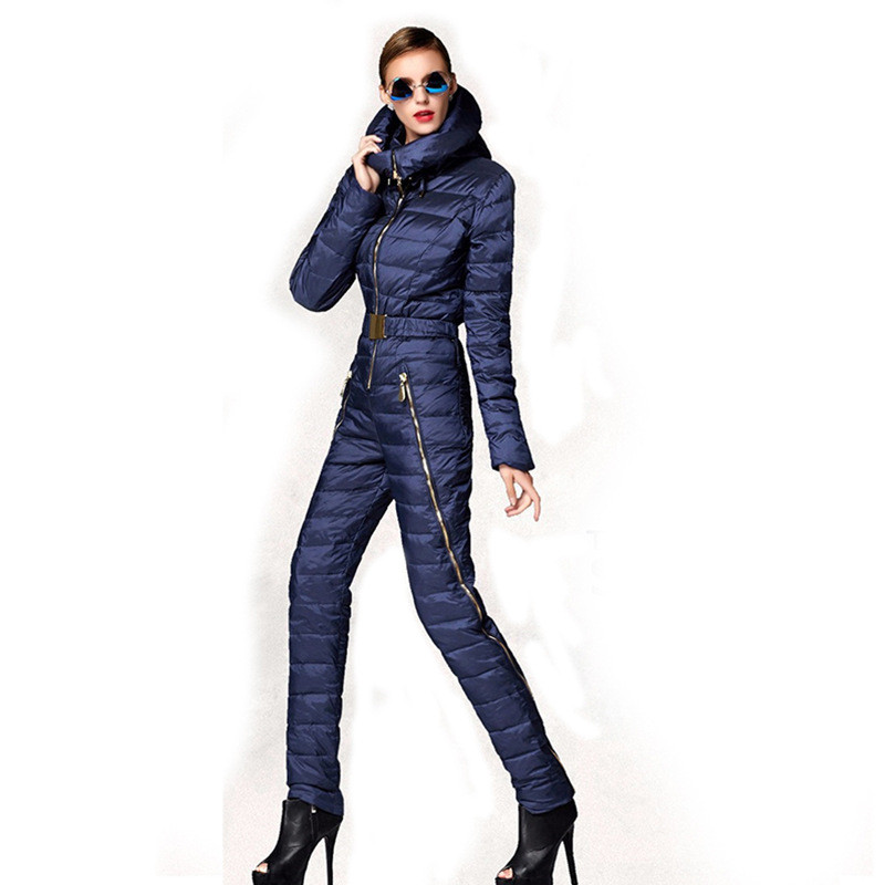 One Piece Mountain Skiing Suit Women Winter Super Warm Ski Suit Windproof Breathable Snowboarding Suits White Duck Down Padded mountain skiing suit women 2017 new ski