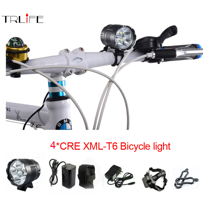 Bicycle Light 4000 Lumen 4 x CREE XM-L T6 LED Bicycle LED Headlamp HeadLight 6400m 3Mode bike light +charger+headlamp+battery singfire sf 544 4 mode 2500lm white led bicycle light w cree xm l t6 black 4 x 18650