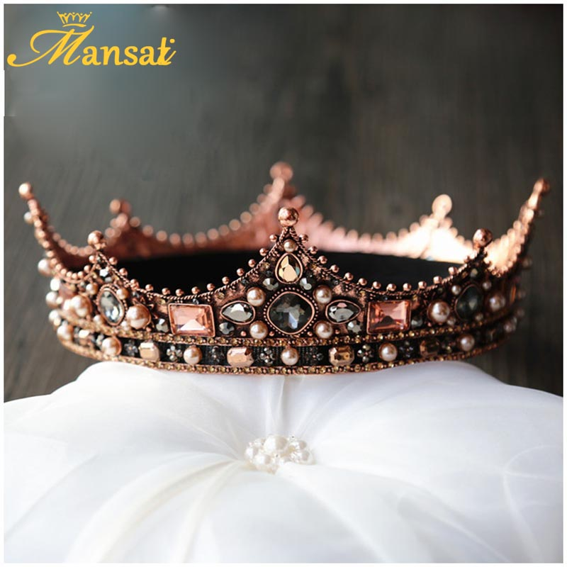Luxury Vintage Crystal Queen Princess Round Tiaras Crown Rhinestone Diadem For Bride Wedding Hair Accessories New Baroque Crowns 00009 red gold bride wedding hair tiaras ancient chinese empress hair piece