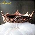 Luxury Vintage Crystal Queen Princess Round Tiaras Crown Rhinestone Diadem For Bride Wedding Hair Accessories New Baroque Crowns
