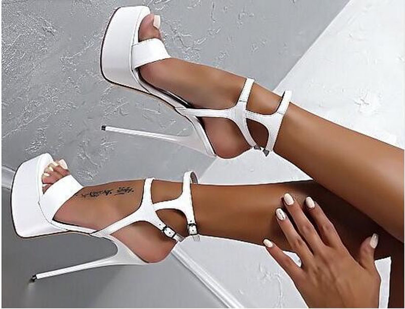 Women New Fashion Patent Leather Two Ankle Straps High Platform Sandals Formal Dress Shoes Super Stiletto Heel Sandal PumpsWomen New Fashion Patent Leather Two Ankle Straps High Platform Sandals Formal Dress Shoes Super Stiletto Heel Sandal Pumps