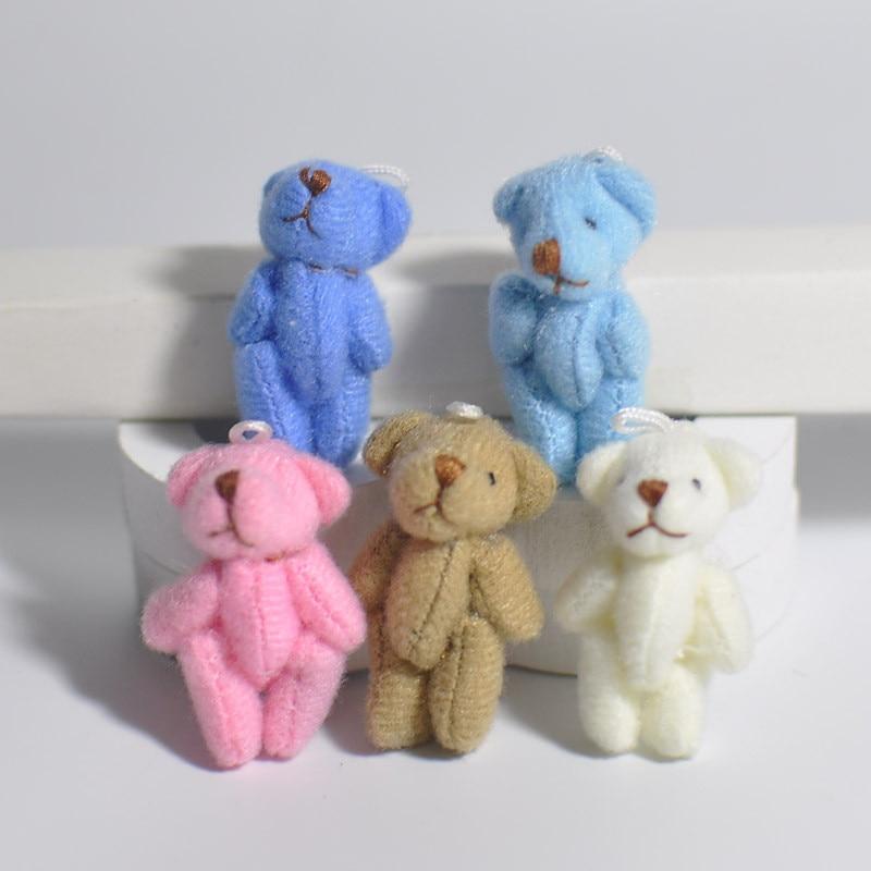 5Pcs/Set kawaii Teddy Bear Doll Plush Stuffed Keychain Toy Bag Pendant Cute Mini Doll 4CM Toys For Children Gift Random Color new creative plush bear toy cute lying bow teddy bear doll gift about 50cm