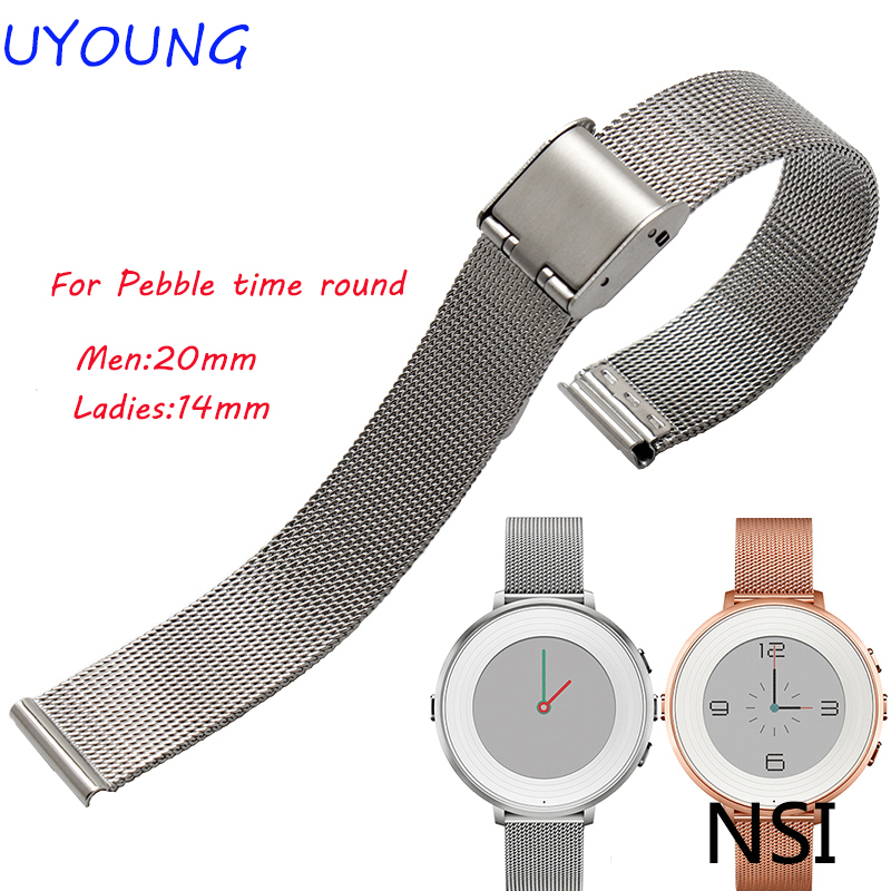For Pebble Time Round Smart Watch Milanese Strap High Quality Stainless Steel Watchband  ...