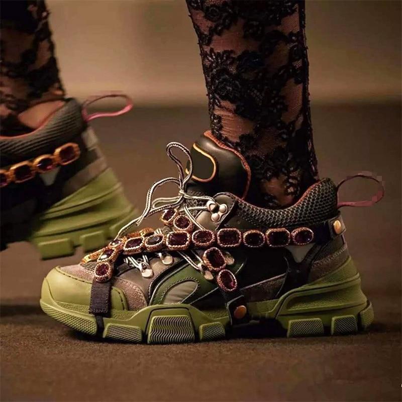Appartements Chaîne En Métal Rétro As as Élégant Top Coloré Sneakers Low Femmes Pic Cristal Marque Chaussures Cuir Pic Embelli 88gnxqF