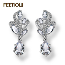 FEEHOW Fashion Marquise Flower Hang Pear Shape AAA Cubic Zircon White/Rose Gold Color Women Dangle Earring For Bridal FWEP263