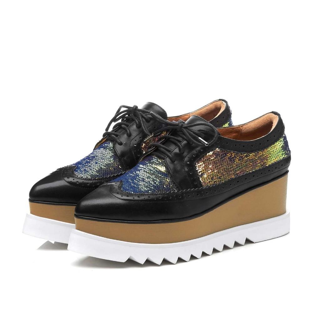 Lenksien в сдержанном стиле туфли на танкетке; обувь на платформе; обувь из кусочков кожи с острым носком на шнуровке женские туфли лодочки из натуральной кожи в стиле «панк», повседневная обувь для свидания, L18 - 4