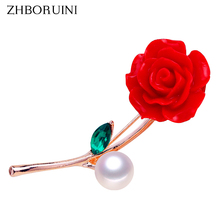 ZHBORUINI 2019 Pearl Brooch Vermilion Red Flower Pearl Breastpin Natural Freshwater Pearl Jewelry For Women High Guality Pin недорго, оригинальная цена