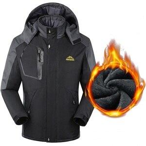 Image 2 - Мужская теплая зимняя парка, пальто больших размеров 6XL, 7X, 8XL, толстая бархатная водонепроницаемая ветрозащитная куртка с капюшоном, мужское флисовое пальто для туризма