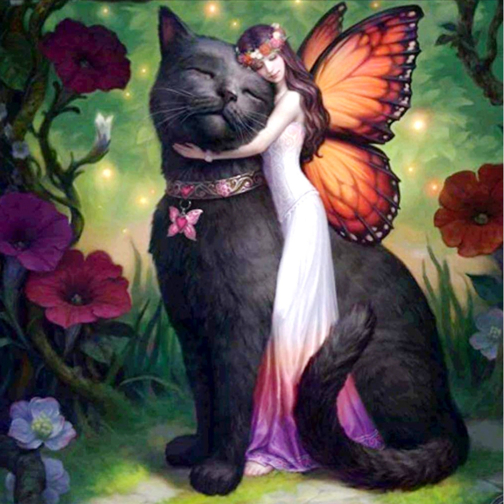5D Diamond Paintings Full Round Drill Beauty and Cat Mosaic Art Velet Canvas Landscape Kits Embroidery Stickers Decoration Home5D Diamond Paintings Full Round Drill Beauty and Cat Mosaic Art Velet Canvas Landscape Kits Embroidery Stickers Decoration Home