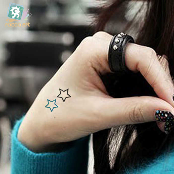 25 Different Classical Small Black Temporary Tatoo Girl Finger Body Art Smiling face Bird cage star Tattoo Sticker Men Hand Taty