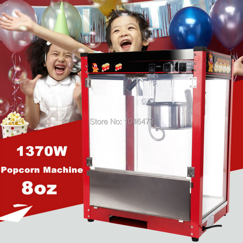 8OZ Commercial Electric Tabletop Kettle Pop Corn Maker Popcorn Popper Machine 1370W Home Theater Style 2 Pan/min