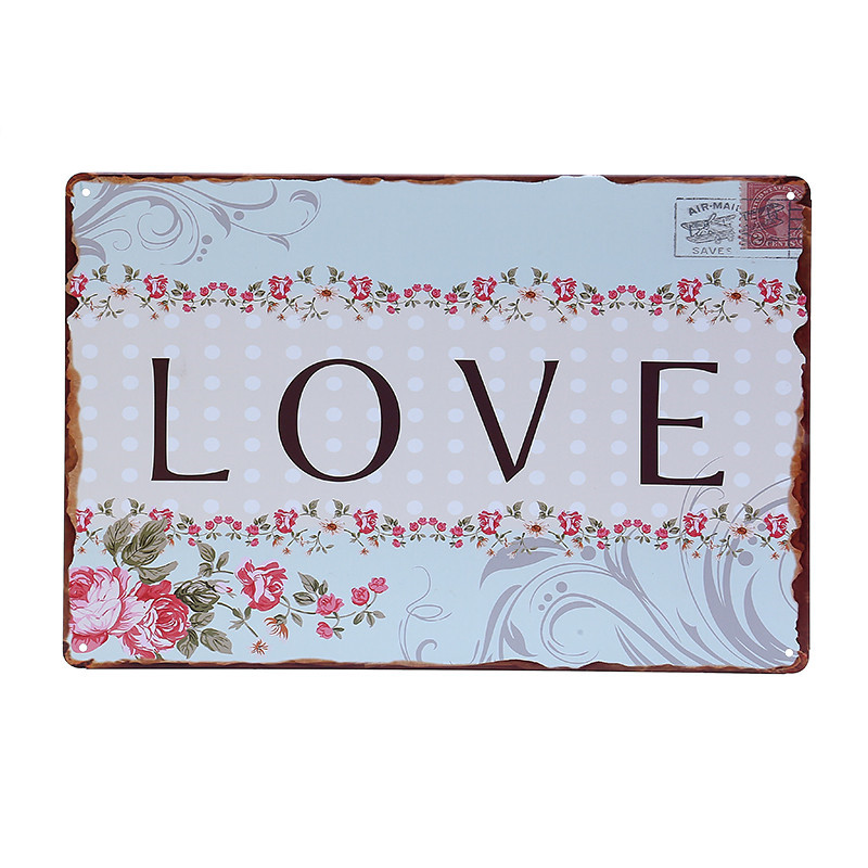 Free shipping word love with flowers metal tin sign wall art , rustic retro style home decor ,size 30x20cm