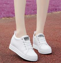 Womens casual sports shoes 2018 autumn and winter new style increase in small white thick bottom slope heel Women