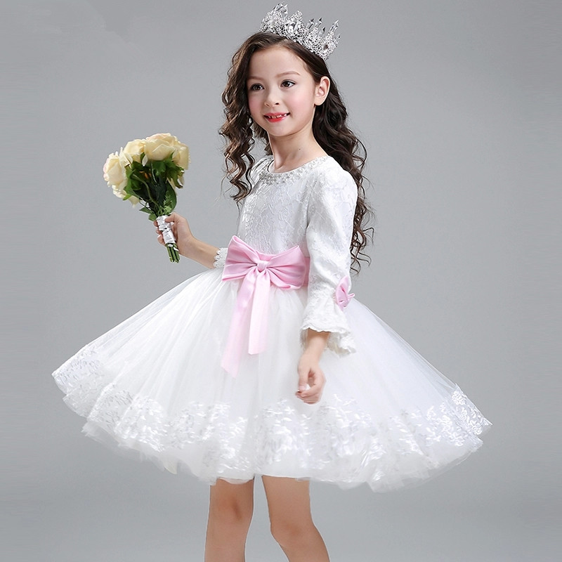 Glizt Girls Wedding Dresses White Tulle Princess Birthday