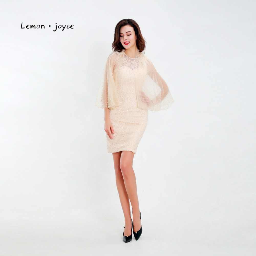 0dc32cdd09b4d Lemon joyce Elegant Cocktail Dress 2019 Simple Empire Line Cloak Pearls  Feathers Knee-Length Short Formal Dresses Party Gowns