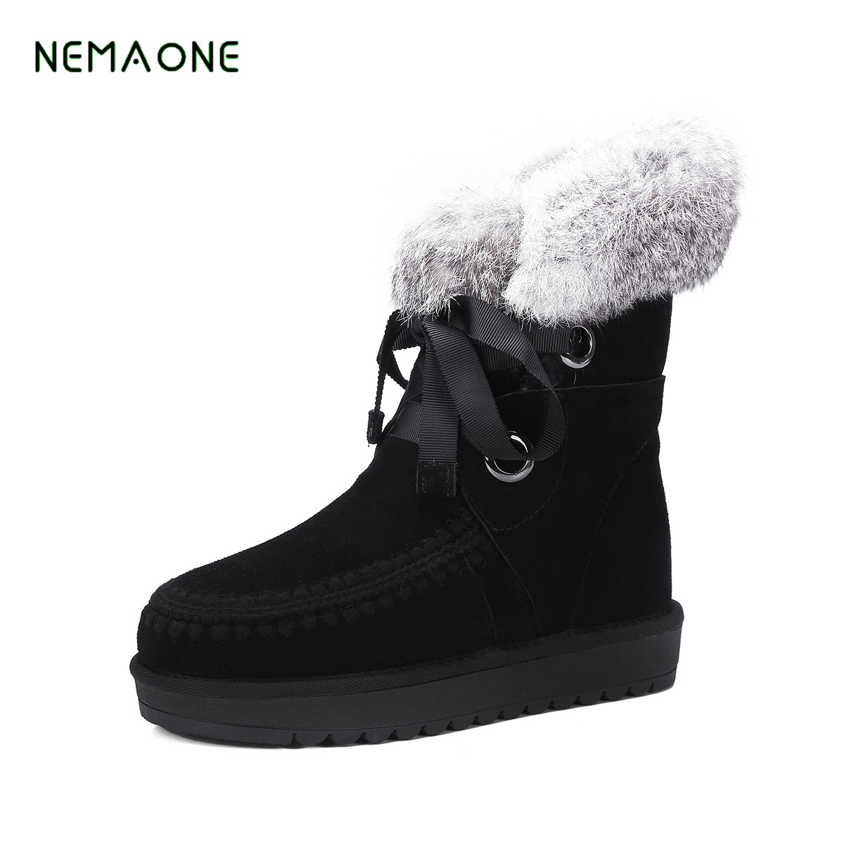 NEMAONE Wool Genuine Leather Women s boots 2017 NEW fashion fur one thick warm snow boots