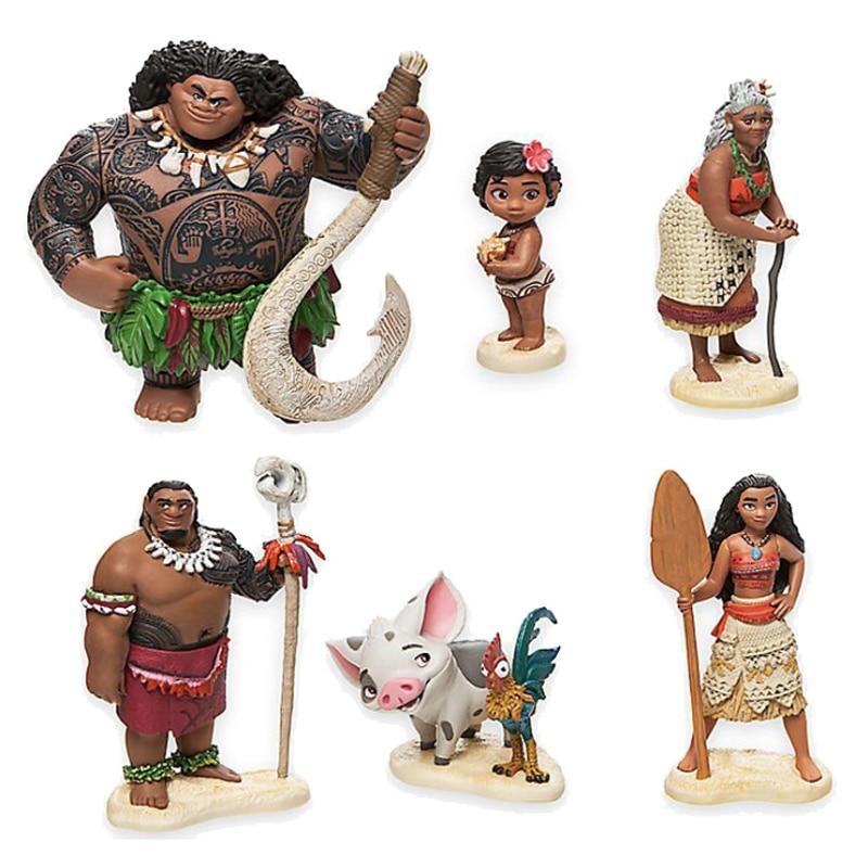 6 pçs/set 6-Heihei 12 centímetros Moana Princesa Maui Chefe Tui Tala Pua Figura de Ação Brinquedo Brinquedos Para As Crianças Presente de Ano Novo