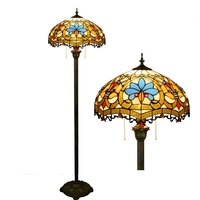 European style creative stained glass living room Bedroom floor lamp American love Luxurious 16 inch 40CM Zipper lamp 110 240V