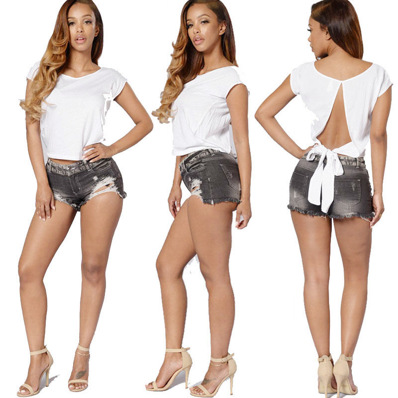 04065e937425 Fashion Women Summer High Waisted Washed Ripped Hole Short Mini Jeans Denim  Pants Shorts Outfits Bodycon Pencil Pants Mujer new-in Jeans from Women s  ...