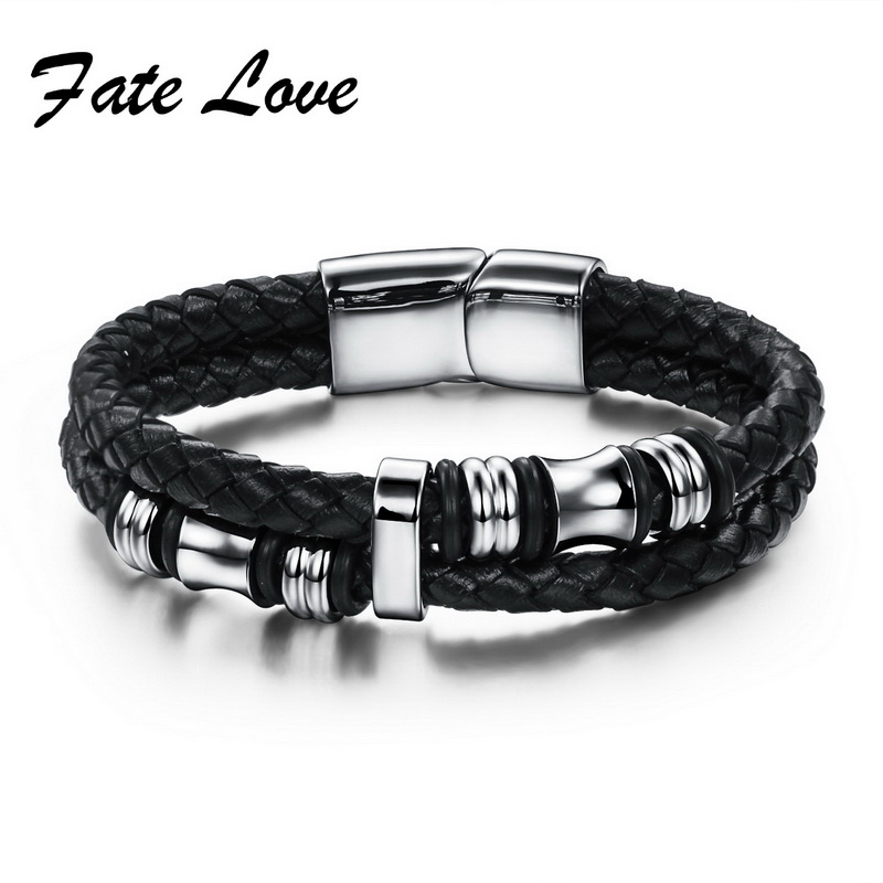 Fate Love Black Leather Bracelet Men Stainless Steel Silver