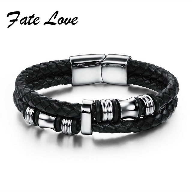 2017 Fashion Black Double Layer Braided Leather Bracelet Men Stainless Steel Silver Bracelets Bangles With Magnetic