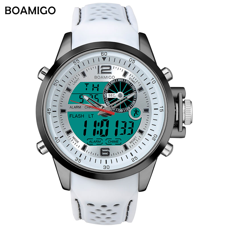 BOAMIGO Brand Men Sport Watches white color multifunction LED digital analog quartz wristwatches rubber band 30m