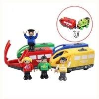 4 cores magnético brinquedo do veículo eletrônico crianças trem elétrico brinquedos compatíveis de madeira ferroviário presente aniversário para crianças wooden thomas kids electric train electric train toy -