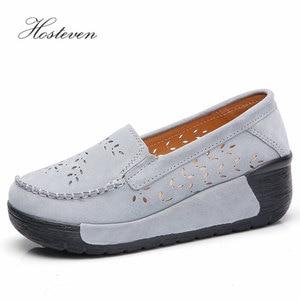 Image 2 - Hosteven Women Shoes Moccasins Loafers Sneakers Flat Platform Genuine Leather Summer Autumn Ladies Female Swing Hole Shoe