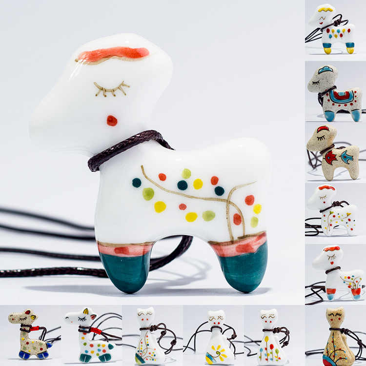 New Arrival Cute Lovely Pure Hand-painted Cartoon Small Giraffe&rainbow Ceramic Necklace Jewelry gifts, wholesale