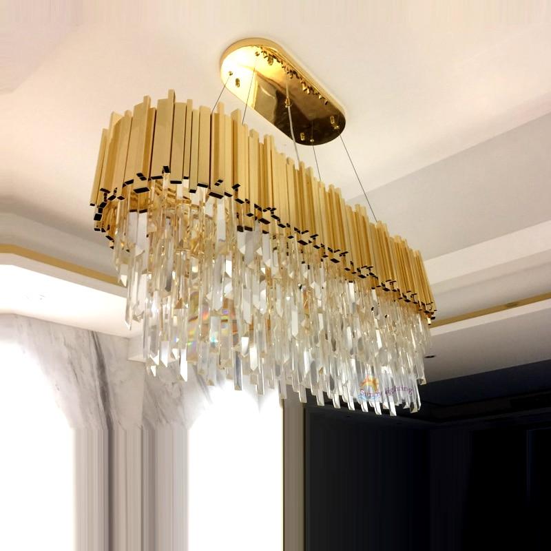 Modern Rectangular Large K9 Gold Crystal Chandelier Lighting Hotel Hall Dining Room Parlor Chandeliers Hanging LED Crystal Lamp