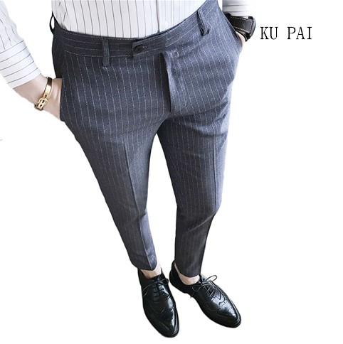 Fall of 2017 Young British Striped Casual Pants Mens England Slim Thin Piece is Thin Pants Hair Stylist Pants