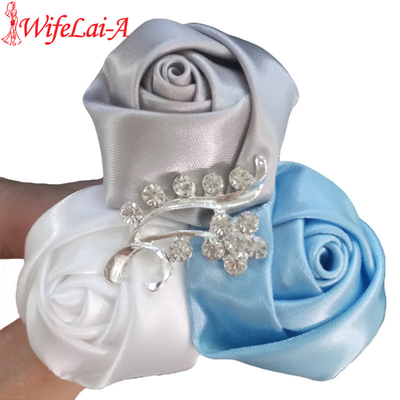 Wifelai-a Silver White Baby Blue Satin Roses Corsages Brooch Groom Crystal Diamond Bride Marriage Wedding Boutonniere X205J